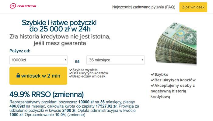 Rapida Money pożyczka dla zadłużonych