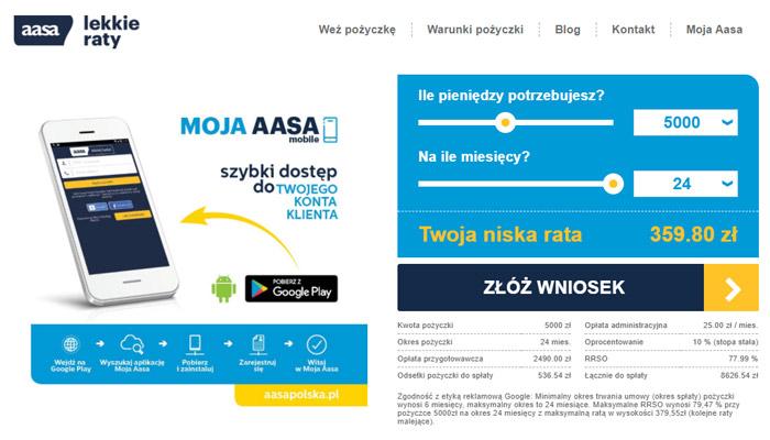 Pożyczki na raty miesięczne przez internet w Aasa